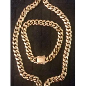 Harlembling 14k Gold Miami Cuban Chain& Bracelet